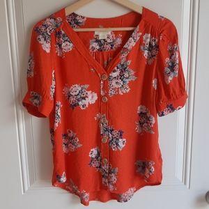 Maeve Floral Button Front Hansley Blouse Size 0